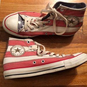 American flag high top converse